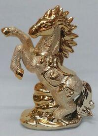 SMALL ITALIAN GOLD CERAMIC HORSE ORNAMENT CHINA ROMANY GYPSY