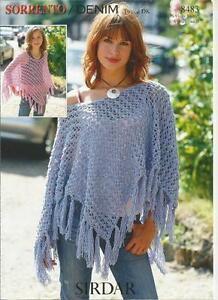 - Knitting Pattern /instructions to make Lady's & Girl's Lacy Poncho