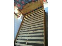 solid pine king size bed with memory foam mattress