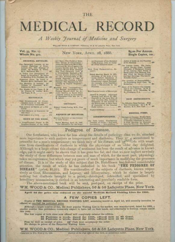 4/28 1888 New York Medical Record Journal Medicine Surgery Doctor Trade Magazine