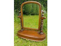 Antique Victorian Mahogany Toilet Mirror Dressing Table Mirror Barley Twist
