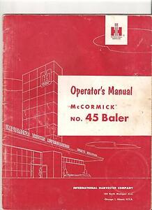 McCORMICK INTERNATIONAL BALER OPERATOR'S MANUAL