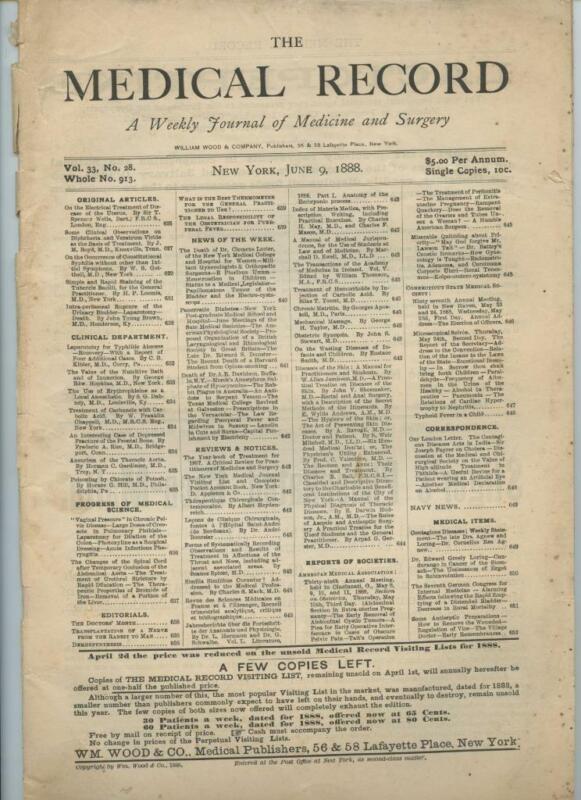 6/9 1888 New York Medical Record Journal Medicine Surgery Doctor Trade Magazine