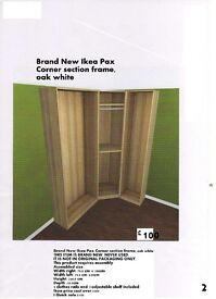 Brand New Ikea Pax Corner section frame, (white stained oak effect)