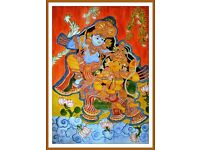 Radha-Krishna Eternal Love - Indian mural painting - Acrylic on canvas - Wall decor