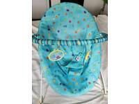 BABYSTART BLUE ANIMAL PRINT VIBRATING BOUNCER CHAIR