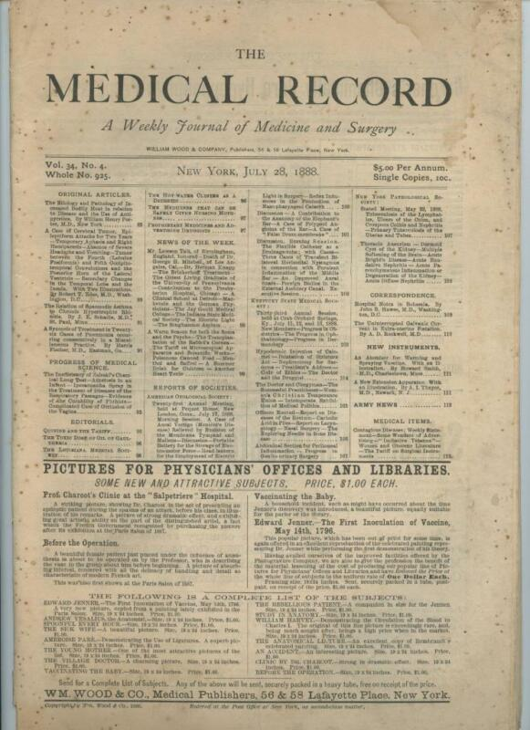 7/28 1888 New York Medical Record Journal Medicine Surgery Doctor Trade Magazine