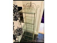 WROUGHT IRON SHELVING UNIT WITH GLASS SHELVES. BARGAIN