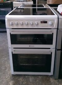 6 MONTH WARRANTY, VERY GOOD CONDITION Hotpoint EW74 double oven electric cooker FREE DELIVERY