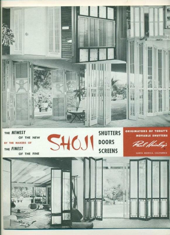 1956 architectural lit. SHOJI SHUTTER DOOR SCREEN SANTA MONICA CA, PAUL HEINLEY