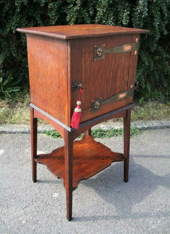 Small Antique Oak Arts & Crafts Side Cabinet Liberty c1900