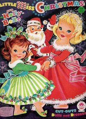 VINTAGE UNCUT 1965 LITTLE MISS CHRISTMAS PAPER DOLLS~#1 REPRODUCTION~SCARCE!
