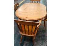 drop leaf pine dining table and chairs