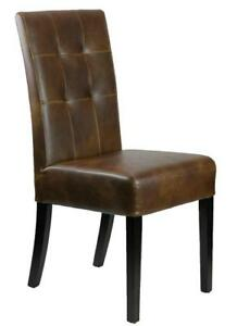 Leather Dining Chairs in Distress Brown for Restaurant