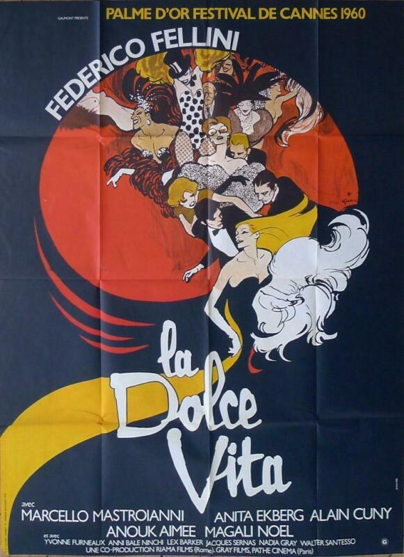 LA DOLCE VITA - FELLINI / MASTROIANNI / EKBERG -RARE REISSUE FRENCH MOVIE POSTER