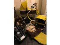 like new cosatto ooba marzipan 3in1 travel system isofix base car seat changing bag pram pushchair