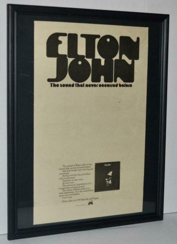 ELTON JOHN 1970 DEBUT LP SOUND NEVER OCCURRED BEFORE PROMO FRAMED POSTER / AD
