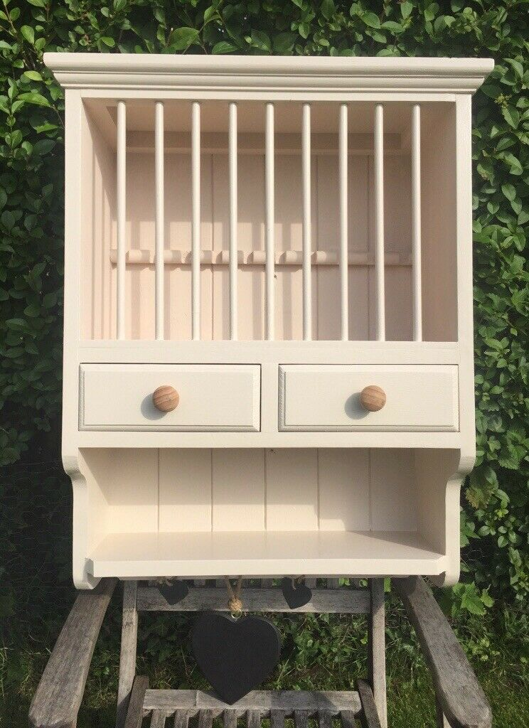 Wooden Wall Mounted Plate Rack Cupboard Cream Shabby Chic
