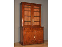 Attractive Large Antique Victorian Mahogany Bookcase Cabinet With Glazed Doors