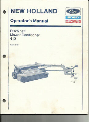 New Holland 412 Discbine Mower Conditioner Operators Manual