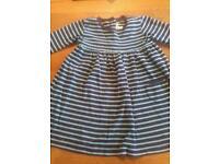 Jojomaman bebe Breton stripe long sleeve dress age 3-4 years