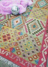 ROKSANA - Traditional Vintage Kilm Persian Rug 195 x 125CM 6.4 x 4.10 FT Handwoven Carpet