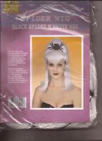 White Wig with Black Spider Halloween for Costumes