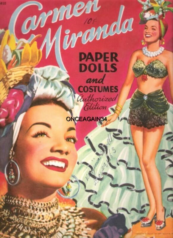 VINTAGE UNCUT 1952 CARMEN MIRANDA/CALYPSO PAPER DOLLS~#1 REPRO~CHOICE OF COVERS!