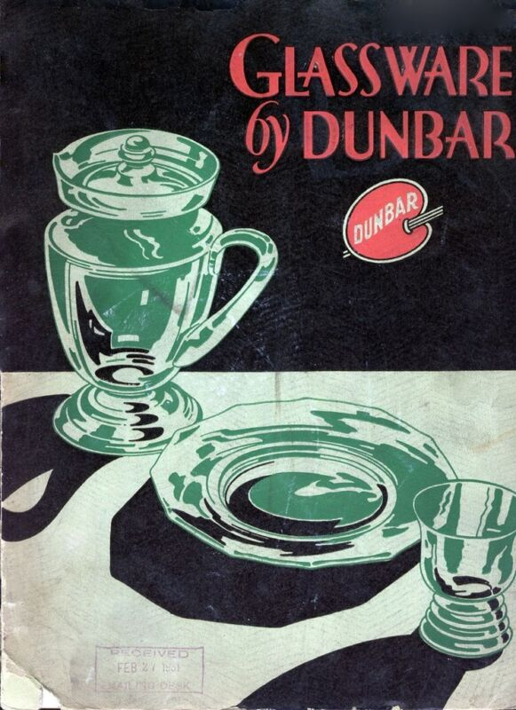 Dunbar Glass Corp 1931 catalog reprint & history