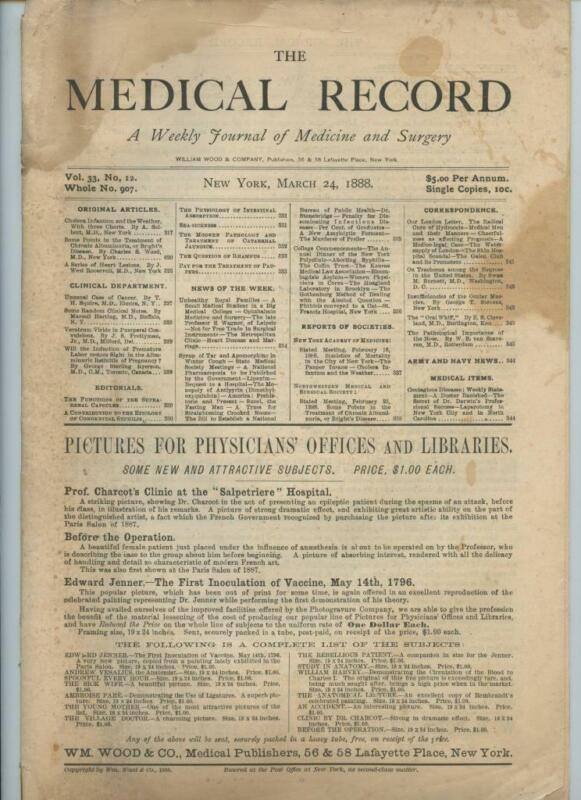 3/24 1888 New York Medical Record Journal Medicine Surgery Doctor Trade Magazine