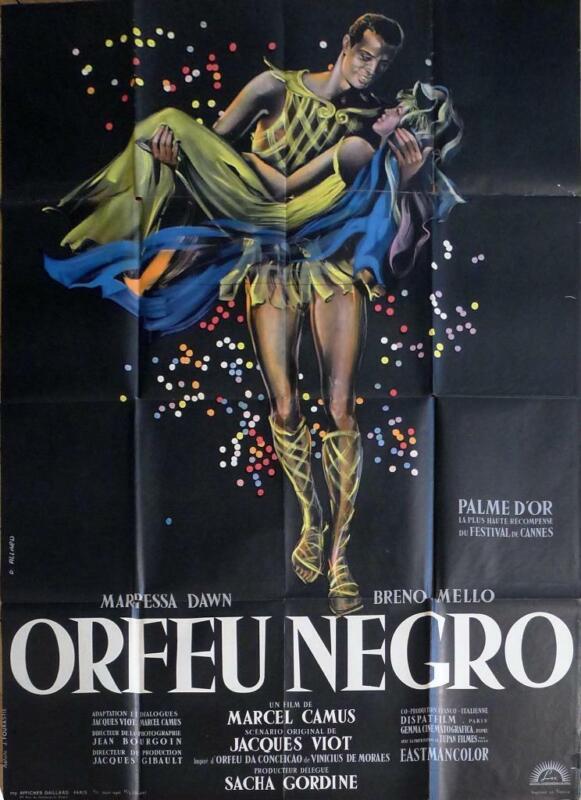 ORFEU NEGRO / BLACK ORPHEUS - CAMUS / BLACK - ORIGINAL LARGE FRENCH MOVIE POSTER