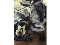 Silver Cross fold away push chair and car seat
