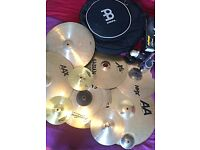 "Custom Cymbal Making Effects Fun Times Kit! Loads of Cymbals with Grinder and 22"" Cymbal Bag"