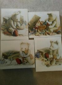 4 x canvas teddy nursery pictures