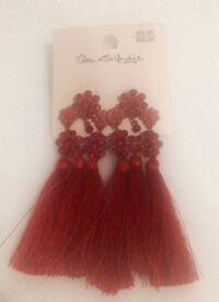 Miss selfridge red fringe earrings