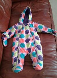 M and s baby snowsuit coat girls babies 3 to 6 months pink
