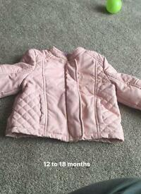 12 to 18 months baby girl pink ( fake) leather jacket