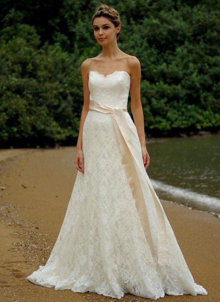 Augusta Jones Jessie Size 12 Wedding Dress Strapless with lace ...