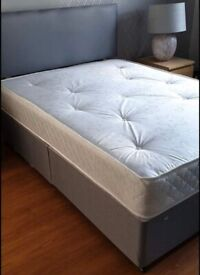 🔥🔥ALL SIZES AVAILABLE🔥🔥 DOUBLE DIVAN BED BASE WITH LUXURY SPRUNG MATTRESS & FAST DELIVERY