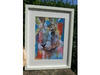 Framed limited edition hare print
