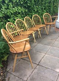 Ercol Windsor Dining Chairs-1960. Two carvers plus four chairs.