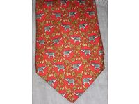 Tie - 100% Silk Beautiful Red Elephant Theme, New Condition