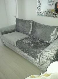 Silver crushed velvet 3 seater sofa