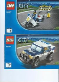 Lego Kit 60007 Police Chase c/w instructions. Police Vehicle-Police Motorbike-Robbers Car and more