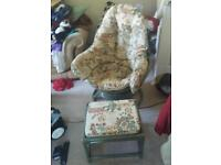 Free swivel cane chair and stool