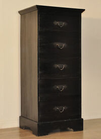 Attractive Large Tall Vintage Rustic Chest Of Five 5 Heavy Drawers