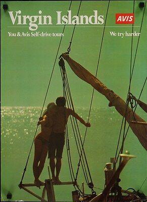 Avis Virgin Islands Vintage 1980 Travel Tourism Poster 17X23