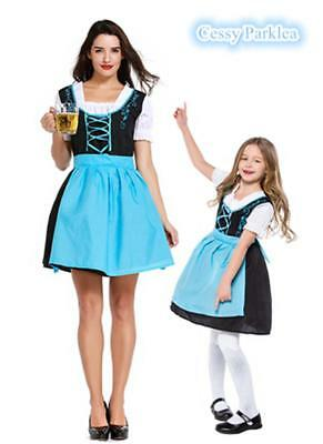 Girls Women Ladies Beer Maid Authentic Blue German Dirndl Oktoberfest Costumes - Maid Costumes For Girls