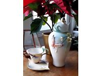 Franz Porcelain Art Butterfly Vase and Dragonfly Tea Cup Collection Pot Vintage Deco