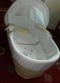 Unisex Moses Basket. Hardly used. In excellent condition. From smoke free home